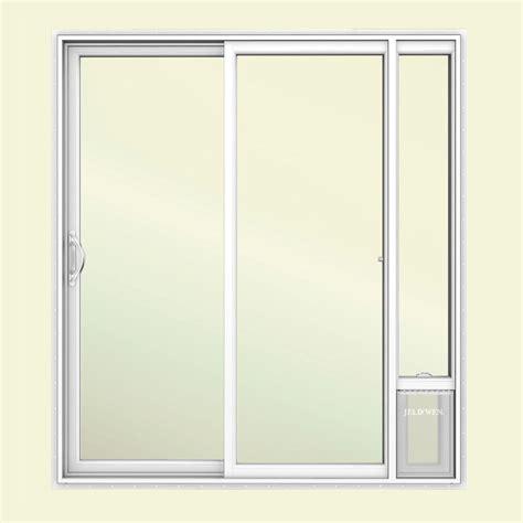 Doggie Door For Patio Door Jeld Wen 72 In X 80 In V2500 White Vinyl Prehung Left 1 Lite Sliding Patio Door With