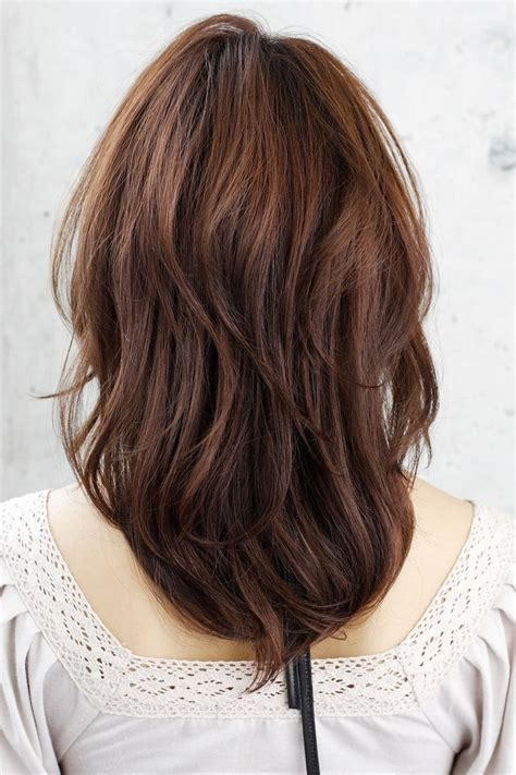 front and back views of medium length hair shoulder length layered haircuts back view women hair libs