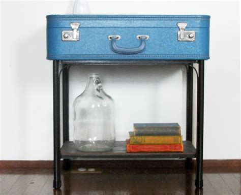 handmade blue suitcase side end table by thee letter q