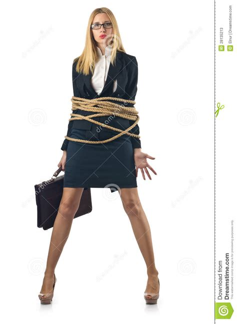 girl tied to bench tied woman stock image image of employee desk