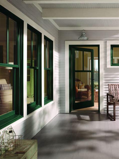 andersen  series wood clad hunter green windows