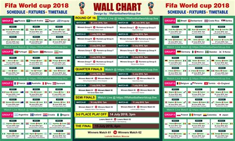 D World Cup 2018 Fifa World Cup 2018 Free Wallchart Track 64 Matches