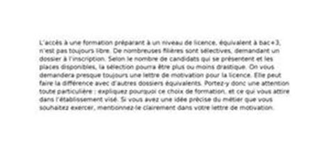 lettre de motivation licence exemple gratuit