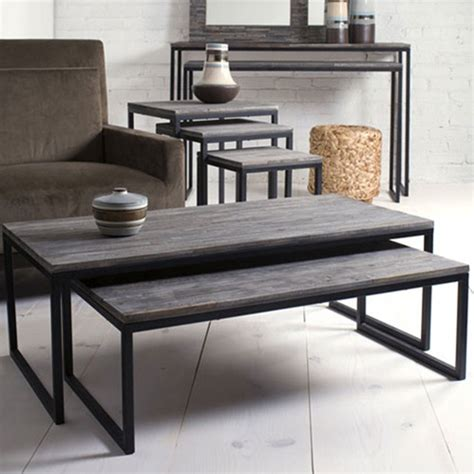 Contemporary Living Room Table Shiraleah Rubberwood Nesting Coffee Tables Set Of 2