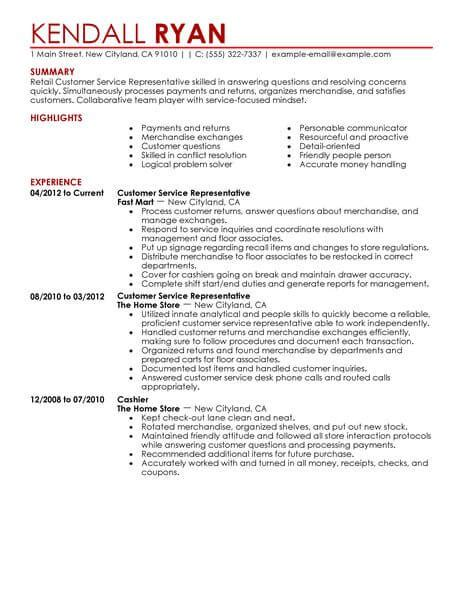 sle resume for customer service representative in retail best retail customer service representative resume exle livecareer
