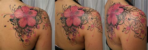 floral shoulder tattoo japanese flower tattoos on right back shoulder