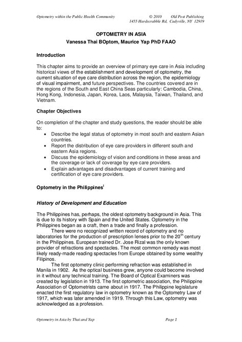 Sle Recommendation Letter For Optometry Student Section 5 Optometry In Asia By Thai And Yap