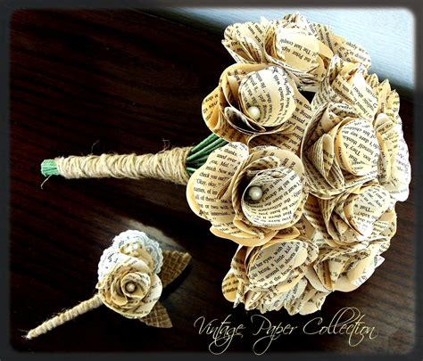 Wedding Bouquet Made From Books by Book Page Bouquet Book Page Boutonniere Book By Theepapergirl