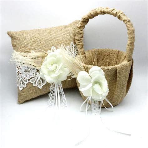 Flower 2pcs Set 2pcs set vintage hessian burlap wedding ring pillow
