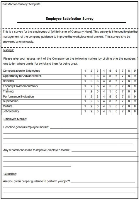 doc survey template doc 600550 blank survey template 10 blank survey