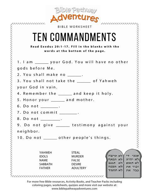 10 Commandments Worksheets