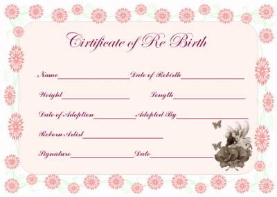 Reborn Birth Certificate Template by Free Printable Doll Adoption Certificate Wallpaper