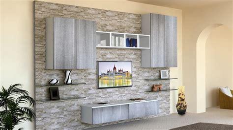 pareti da soggiorno mobile da soggiorno con parete rivestita in pietra