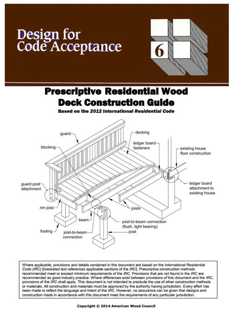 Patio Construction Guide by Dca 6 Deck Construction Guide New Version For 2012 Irc