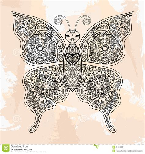 Zentangle Vector Butterfly, Tattoo In Hipster Style