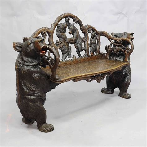 bears bench antique carved wood bear bench swiss brienz circa 1900