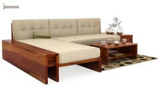 L Shaped Home Bar Cortez L Shaped Wooden Sofa Honey Finish
