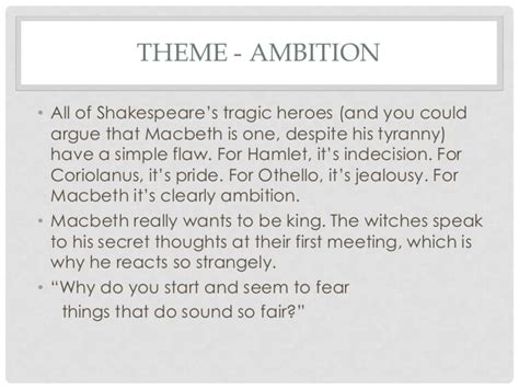 themes of jealousy in macbeth macbeth revision