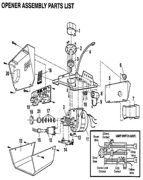 Craftsman 1 2 H P Garage Door Opener Parts Model Craftsman Garage Door Parts List