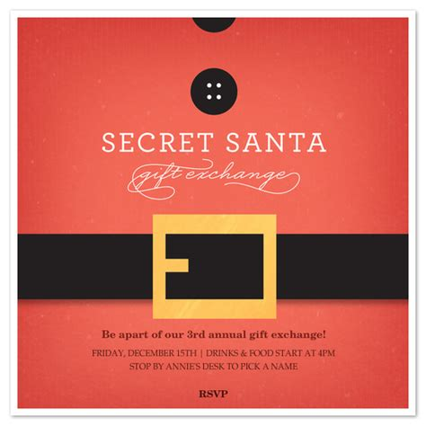 secret santa email template secret santa belt invitations cards on pingg