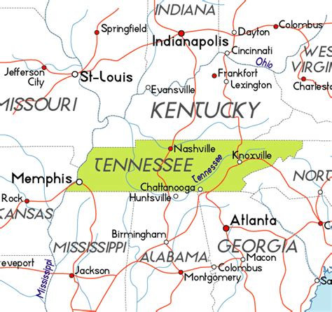tennessee on the map of usa map of tennessee in the usa