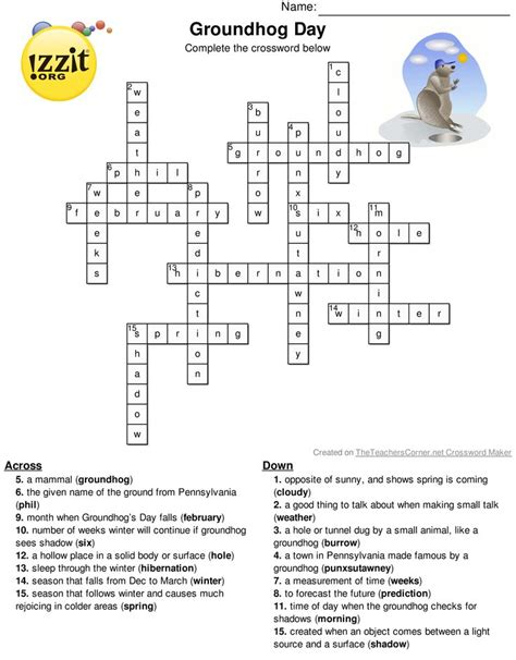 groundhog day director crossword 17 best images about classroom activities on