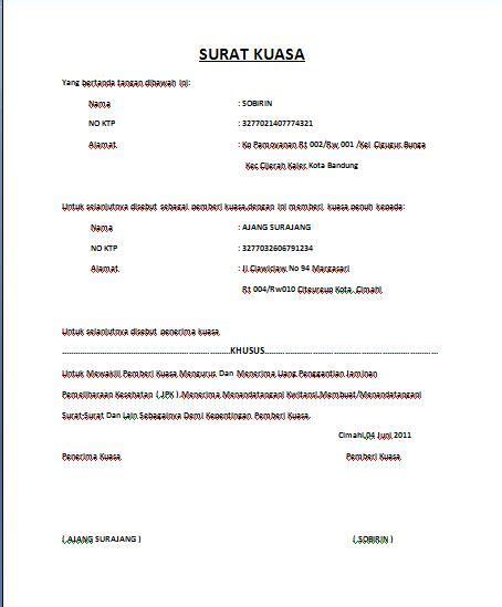format surat kuasa pencairan jaminan uang muka contoh surat ijin orang tua filed under komentar juni