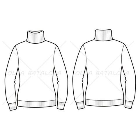 Women S Turtleneck Sweater Fashion Flat Template Templates For Fashion Sweater Template