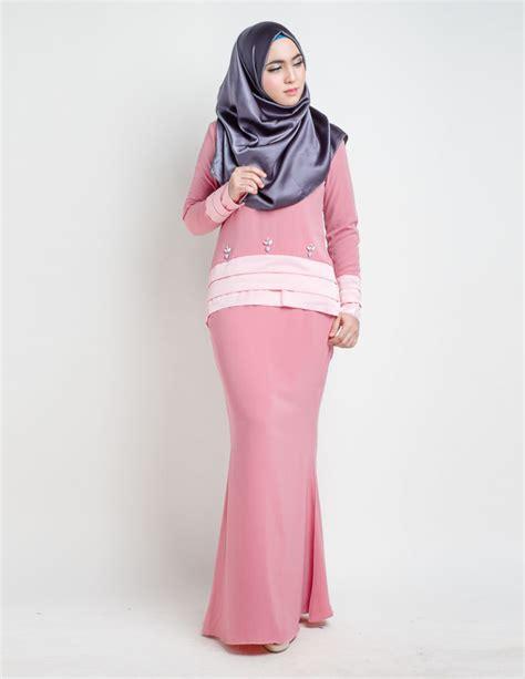 Baju Kurung Pink Lembut baju kurung moden anessa salmon pink lovelysuri
