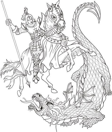 free drawings of st george coloring pages