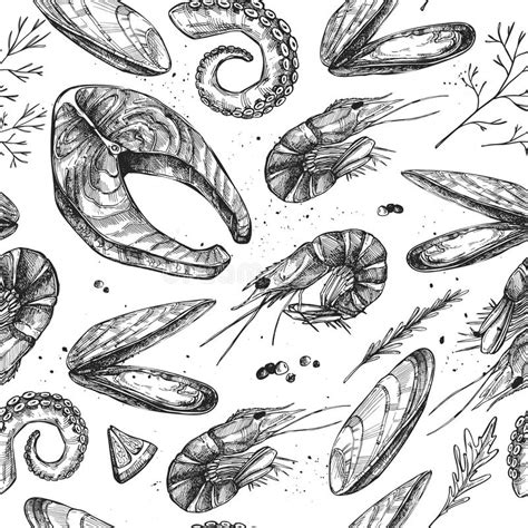 seamless pattern hand drawn seafood hand drawn vector illustration seamless patterns with
