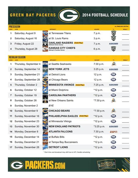 printable schedule for green bay packers 2014 schedule northwest packer backers