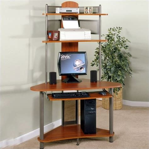 computer tower desk studio rta a tower corner wood computer desk with hutch in pewter and cherry 60133