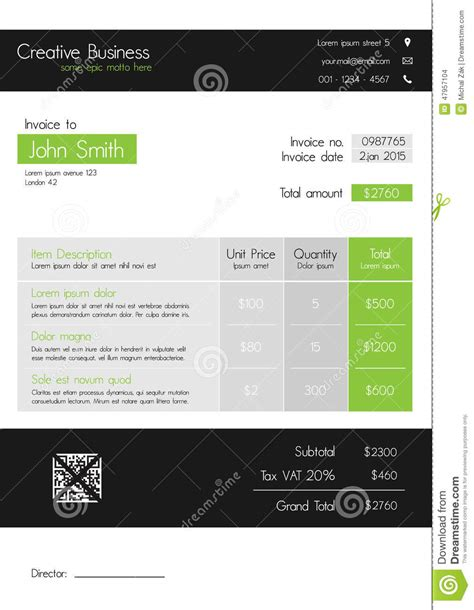 modern invoice template free invoice template clean modern style of green and grey