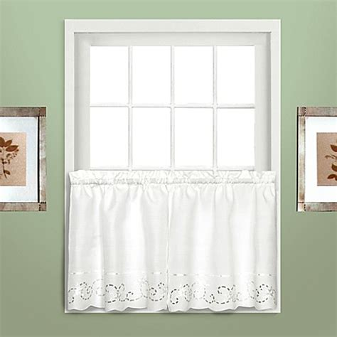 36 inch window curtains buy rachael 36 inch window curtain tier pair in white from