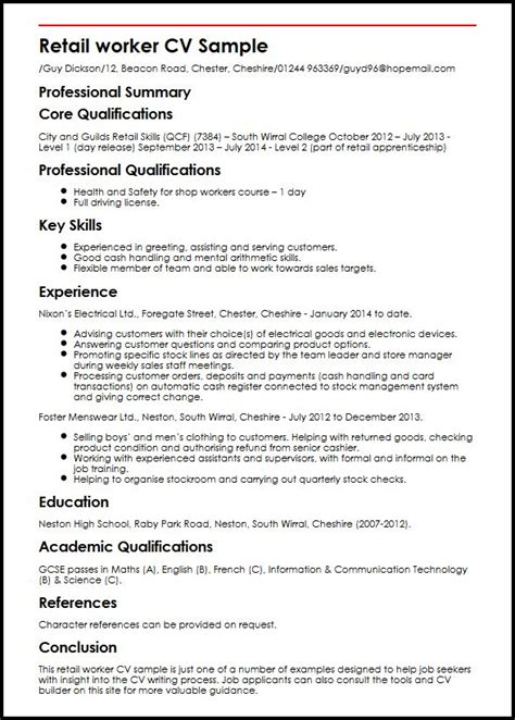 Resume Exles For Working In Retail Retail Worker Cv Sle Myperfectcv