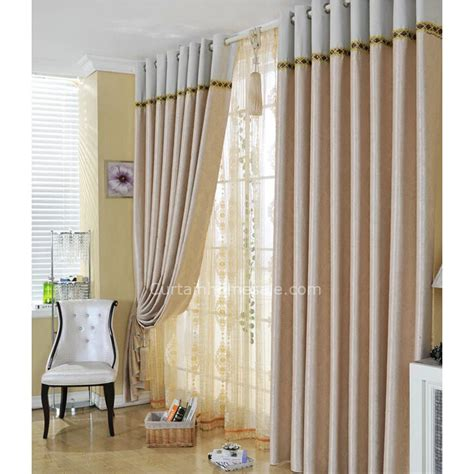 Living room suitable patterned beige blackout curtains