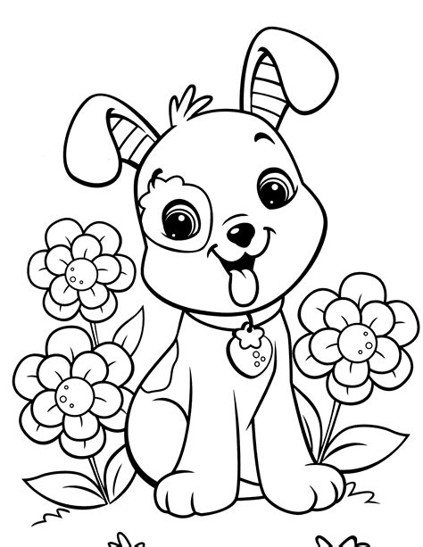 free girl puppy coloring pages