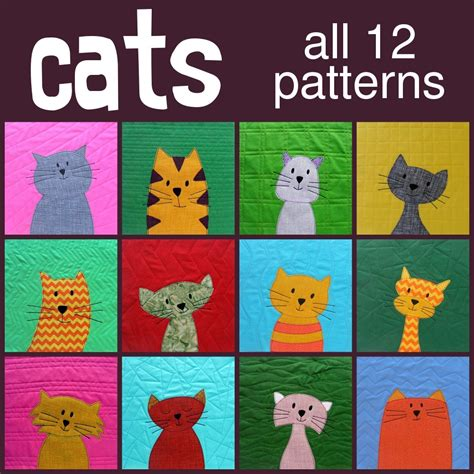 Applique Cat Quilt Patterns cats applique quilt pattern is here shiny happy world