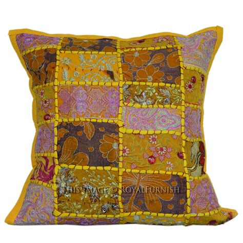Pillow Patches by Yellow India Vintage Patch Pattern Cotton Toss Pillow