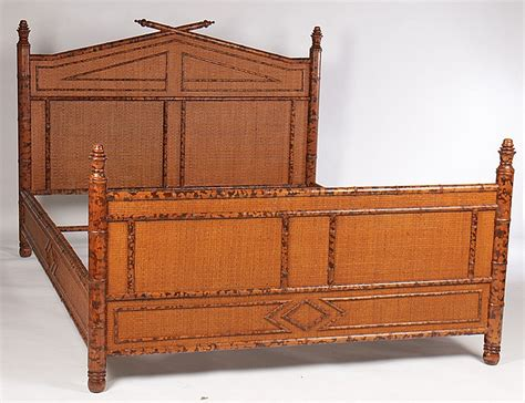bamboo queen headboard faux bamboo queen size bed w grass cloth decorated headboard