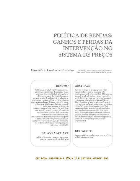 (PDF) POLÍTICA DE RENDAS: GANHOS E PERDAS DA INTERVENÇÃO