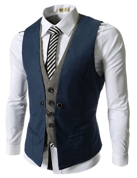 Vest Casual ve34 blue mens business casual layered vest