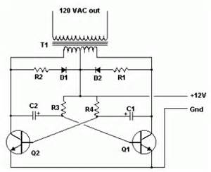 simple inverter 12v dc to 120v ac schematic design