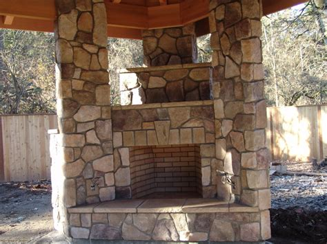 Outdoor Fireplace And Grill - outdoor fireplace with bbq grill and pizza oven traditional patio portland by brown bros