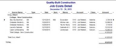 quickbooks job costing reports