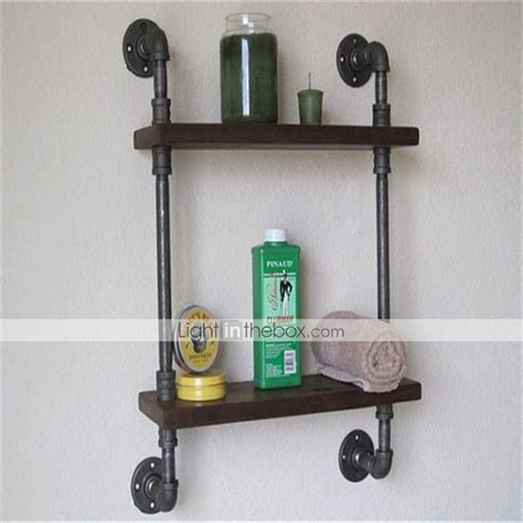 wrought iron bathroom shelves vintage wrought iron pipe double tier metal bathroom shelf