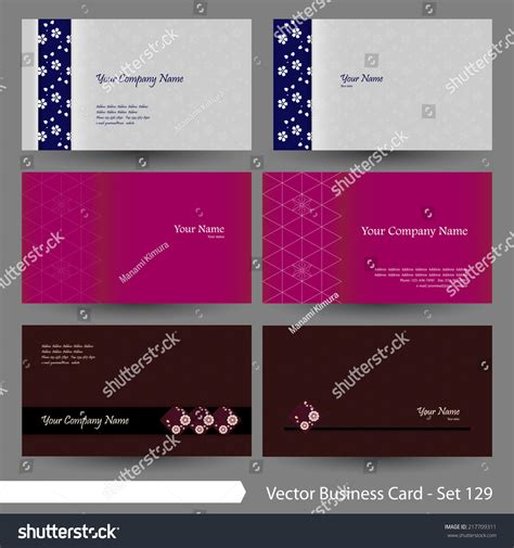 Vector Business Card Template Set Japanese Stock Vector 217709311 Shutterstock Japanese Business Card Template