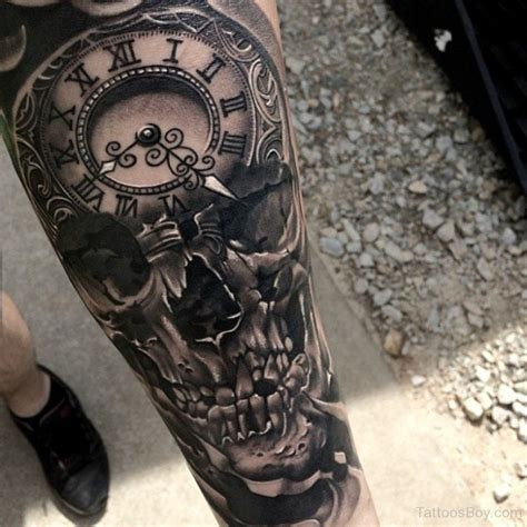 skull and clock tattoo clock tattoos designs pictures page 4