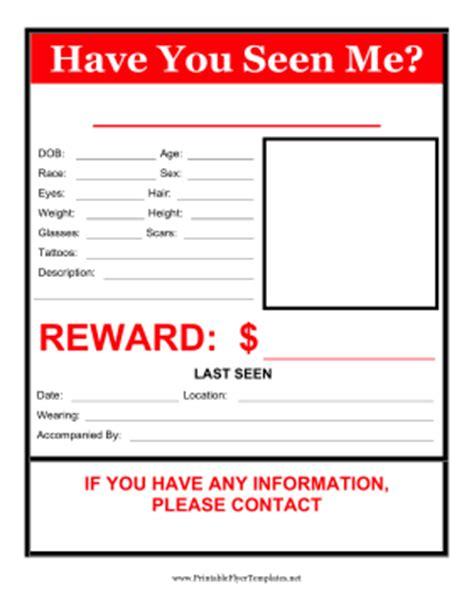 Seen Me Template you seen me flyer reward